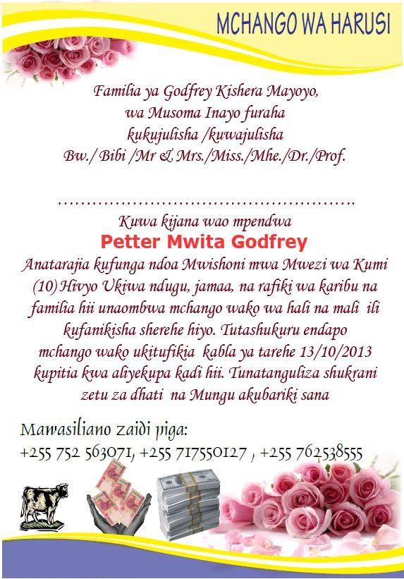 Matokeo Publishers Kwa Kadi Za Harusi Na Matukio Mengine