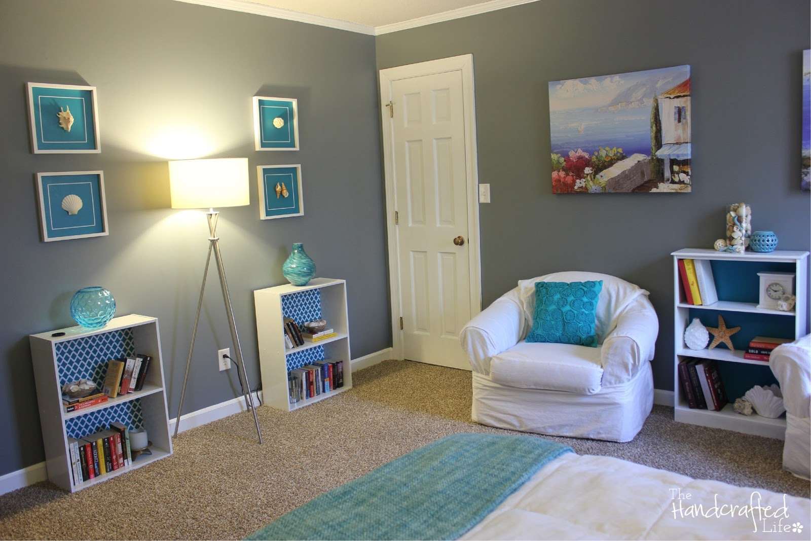 The handcrafted life teal white and grey guest bedroom for Bedroom ideas teal