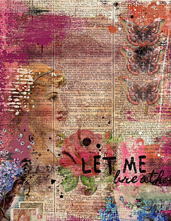 a digital mixed media art journaling page using Mended Teacups digital kit by Sissy Sparrows, guest designer at The Lilypad