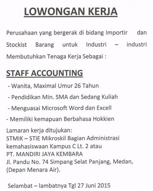 Lowongan kerja SMA Medan PT. Mandiri Jaya Kembara Juni