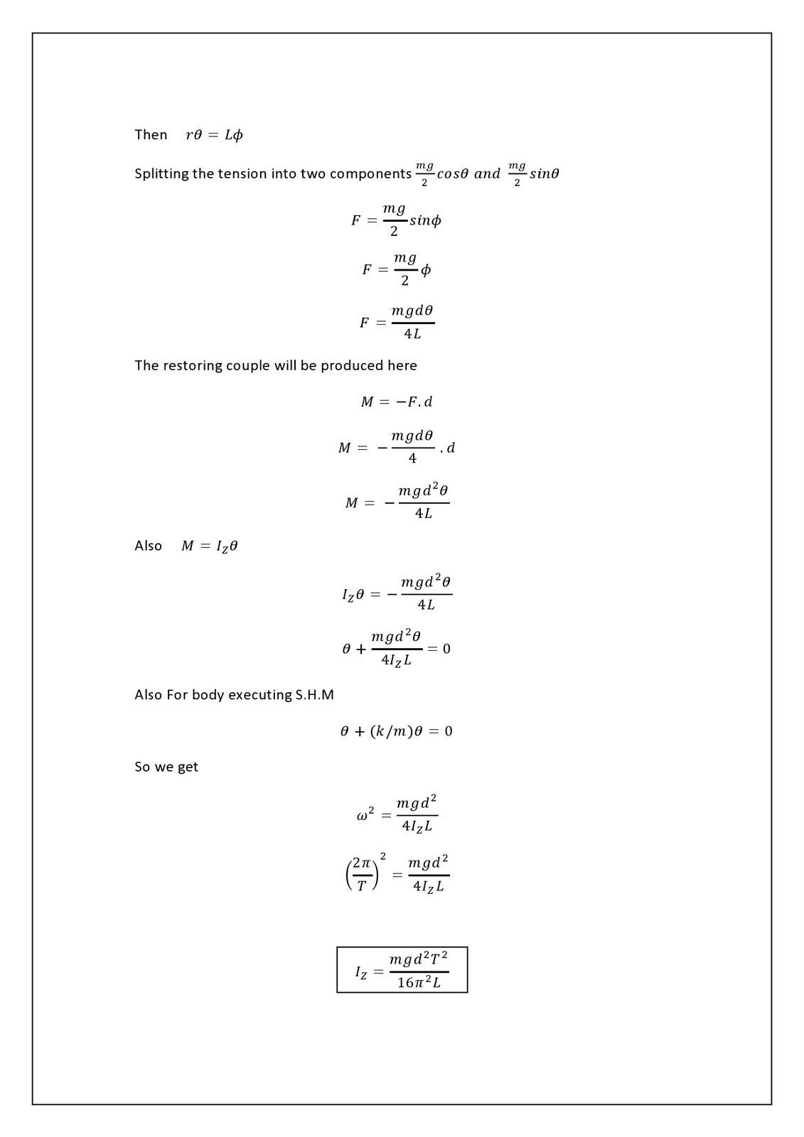 moment of inertia formulas pdf