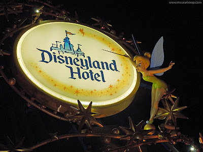 Disneyland Hotel Sorcerer hat entry sign Tinker Bell night