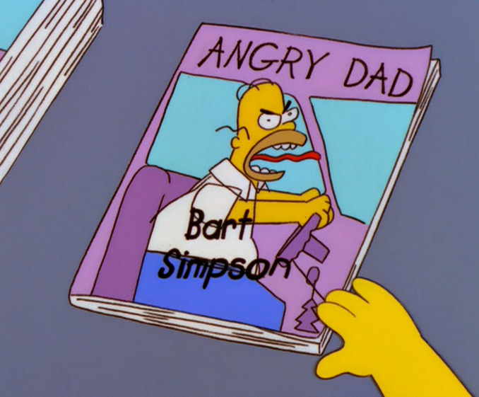 Estoy Verde de Rabia, Bart dibuja Homero, Bart y su comic de Homero, ANgry Dad The Simpsons