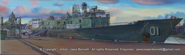 oil painting  of ex-HMAS Adelaide at Glebe Island wharf by artist Jane Bennett