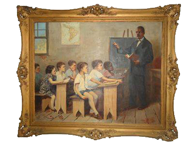 Reproduz a escolinha com carteiras feitas pelo próprio Prof. João Brazil, de caixotes de bacalhau. A tela foi presenteada pelos ex-alunos do Colégio Brasil àquela escola, no seu cinquentenário, em 12/10/1952.