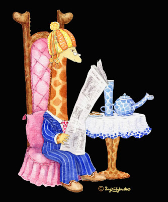 Raph G. Neckmann giraffe drinking tea with teacosy on head - Ingrid Sylvestre