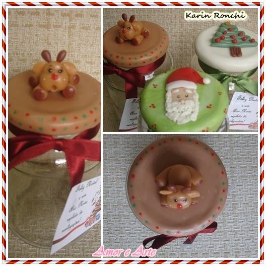 Vidros decorados para Natal - Rena - biscuit