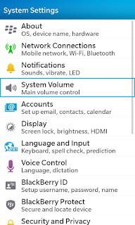 Menu Display Blackberry Z10
