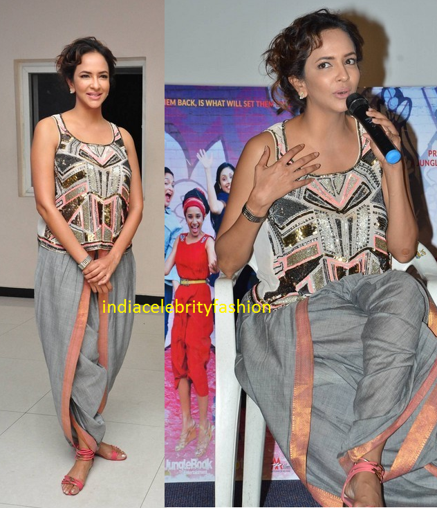 Lakshmi manchu in Sequins Top and Dhoti Pants