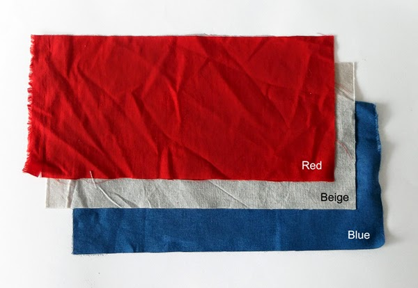 red fabric, blue fabric, white fabric, pieces of fabric, fabrics