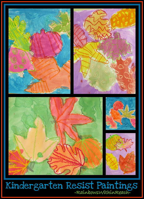 photo of: Kindergarten Fall Leaf Paintings with Crayon Resist Drawings (Fall RoundUP via RainbowsWithinReach) 