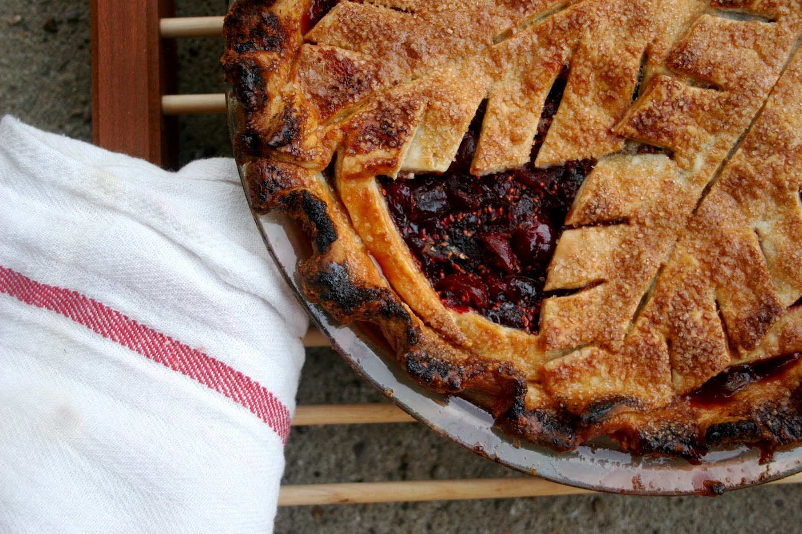 Cranberry Pie with Decorated Crust, Close-Up
