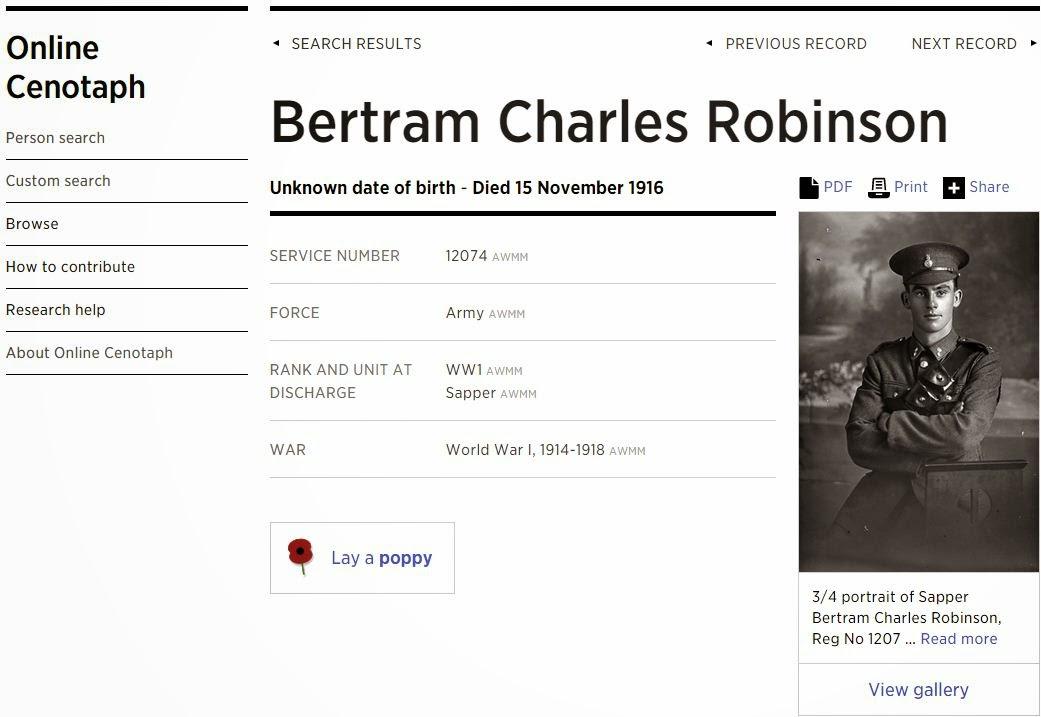 Sapper Bertram Charles ROBINSON Reg No 1207