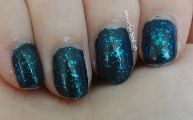 Dark navy blue flakies nails