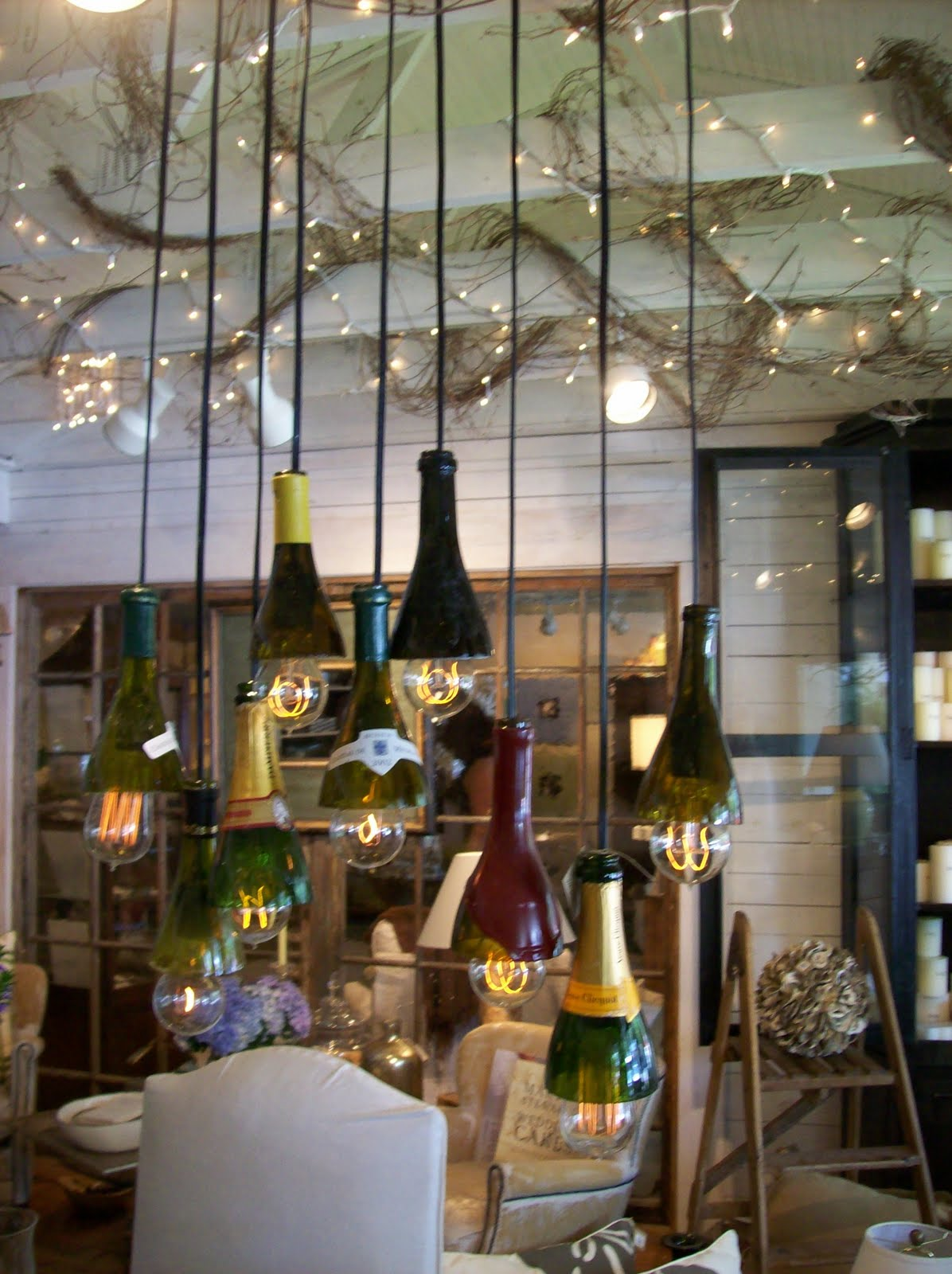 The pineapple room wine bottle chandelier - Wine bottles chandelier ...
