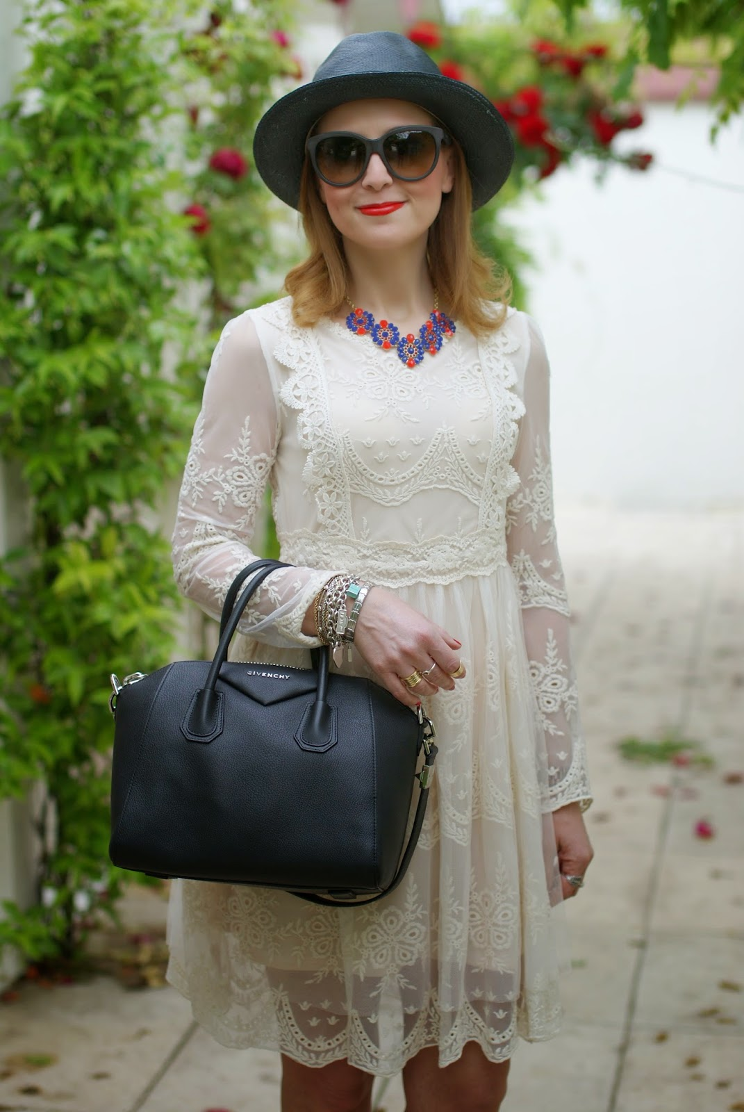 Chicwish Mi Amore lace dress, Givenchy Antigona, Majestical necklace, Fashion and Cookies, fashion blogger
