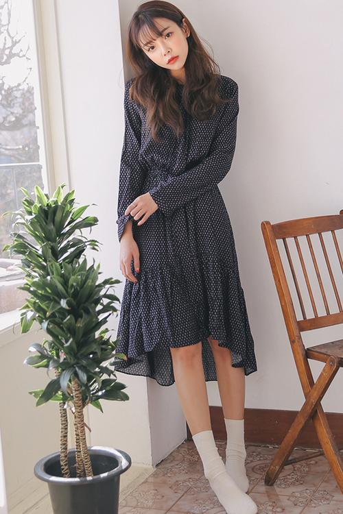 Frilled Hem Leaf Pattern Dress
