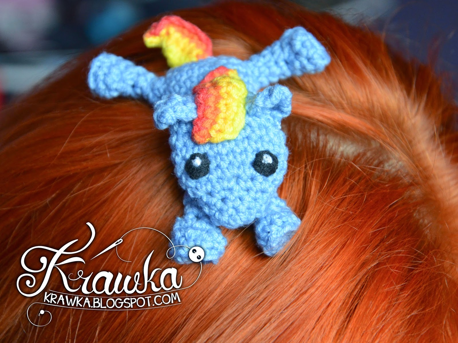 Krawka: Crochet hair clip - My little Pony - Rainbow Dash - free pattern to make it Yourself