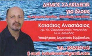 Αναστάσιος Κατσάτος υποψήφιος δημοτικός σύμβουλος Δήμου Χαλκιδέων