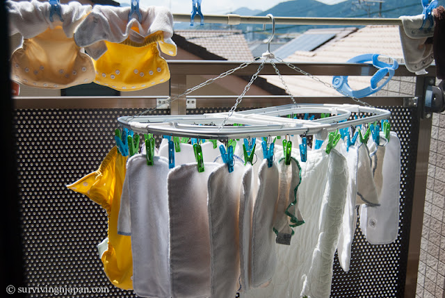 diapers, inserts, wipes, cloth, Japan, hang dry, sun, outside