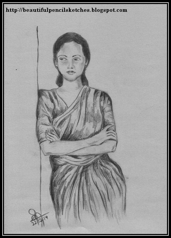 Beautiful charcoal pencil sketch of an indian woman in saree