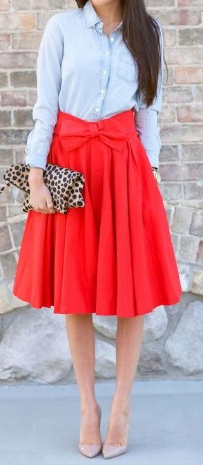 Chambray + midi skirt