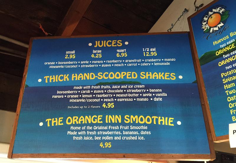 Menu at the Orange Inn in Laguna Beach, CA