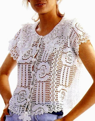 crochet filet blouse