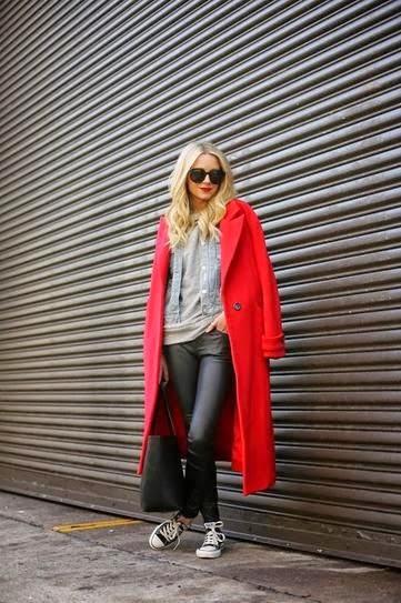 moda feminina, casacos femininos, moda inverno,  roupas femininas, trench coat com calça de couro
