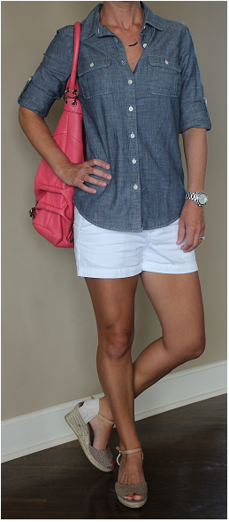 """Top: J. Crew  Shorts: Merona buy 1 get 1 50% off!  Bag: Jessica Simpson (last year), similar, similar  Wedges: Kanna (last year), similar, similar  Watch: Michael Kors  Necklace: Etsy (gift)  Toes: Sally Hansen """"Fuchsia Power"""" only $2.52 + buy 1 get 1 50% off!  Earrings (not pictured): Givenchy also in gold and rose gold  Sunnies (not pictured): Ivanka Trump (the brown pair)"""
