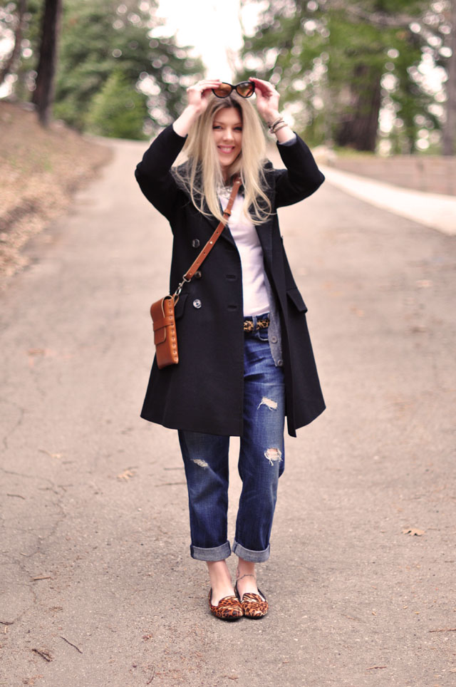black and cognac, boyfriend jeans, leopard print