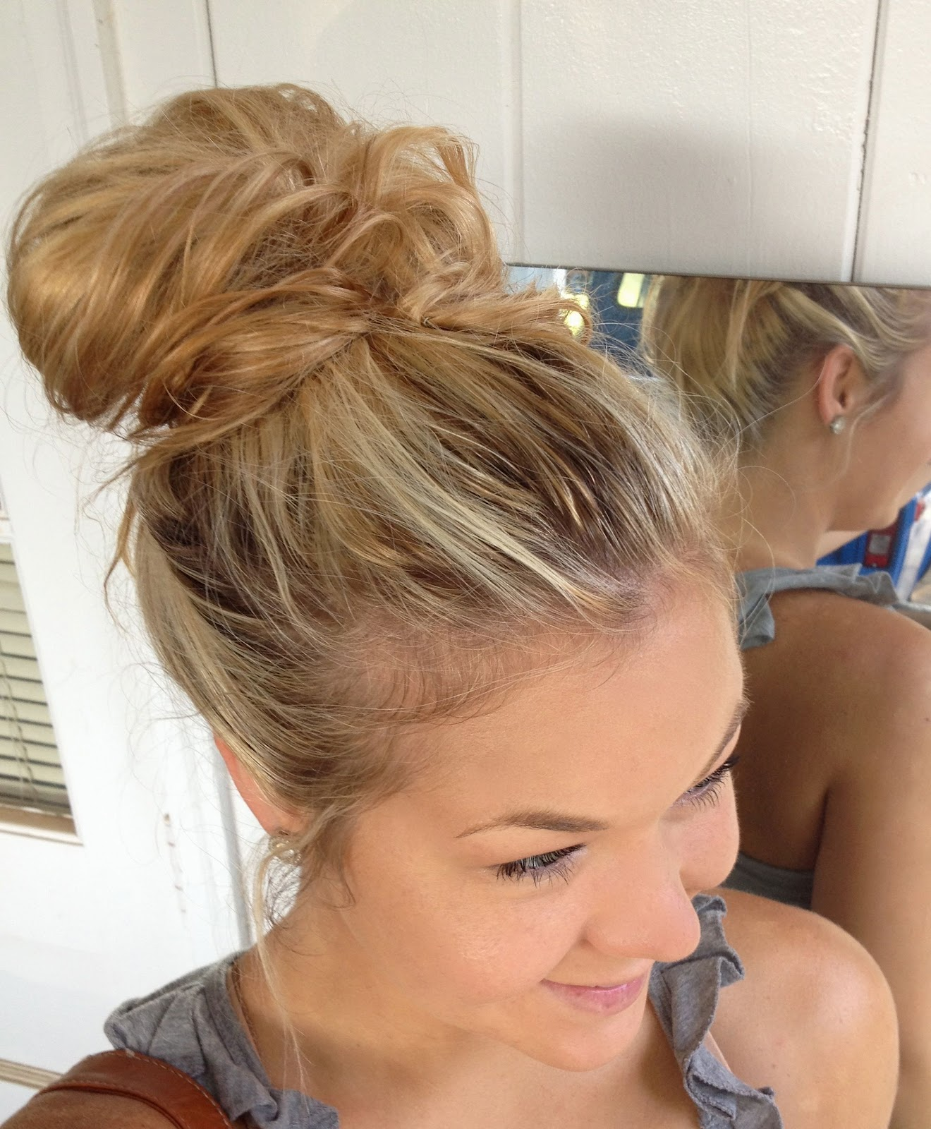 cute mixed girl hairstyles : Messy Bun!