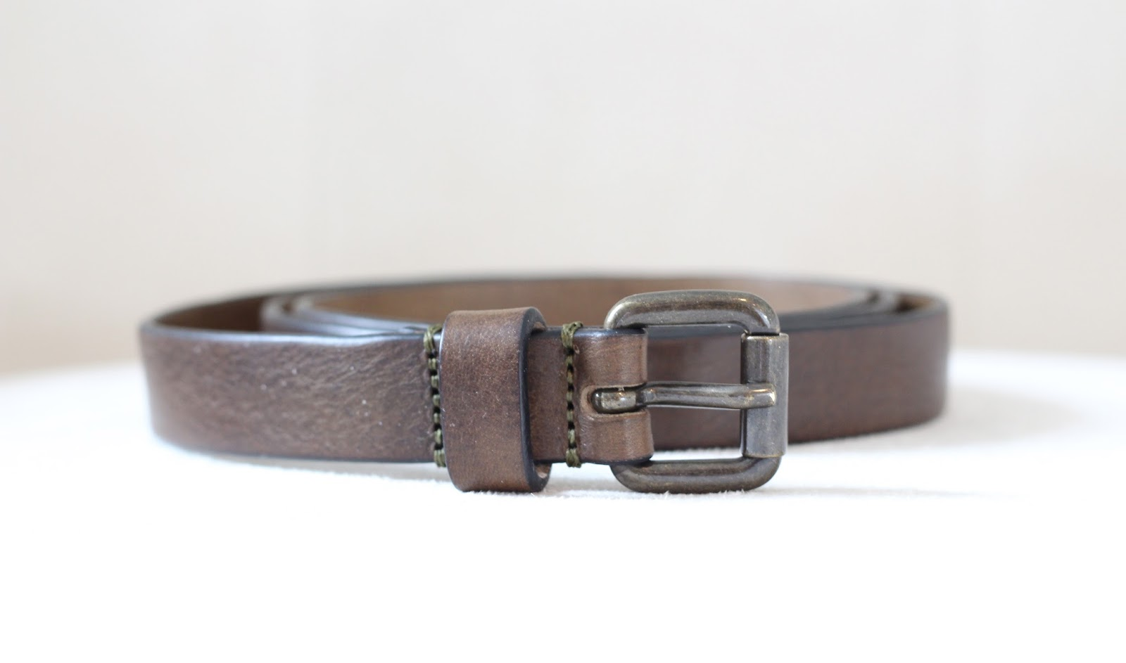close-up of brownish gray belt