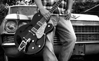 Old Cadillac And Boy With Guitar HD Wallpaper