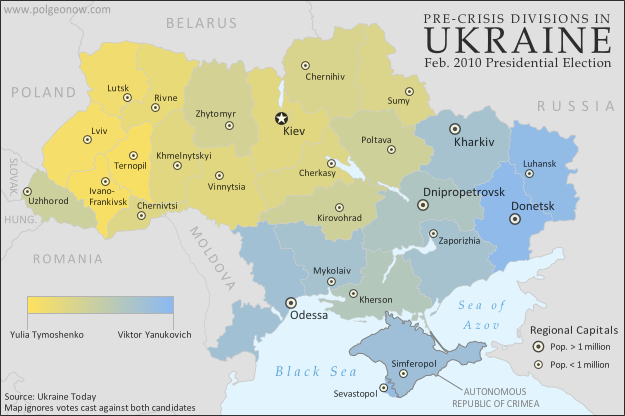 Map of the results of Ukraine's February 2010 presidential runoff election between Yulia Tymoshenko and Viktor Yanukovich