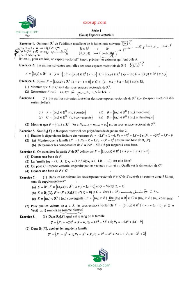 TD avec corrigé de algébre 2 FS - exomaroc