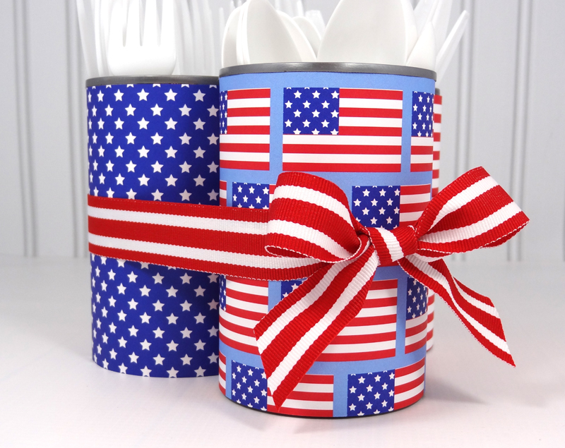Upcycled Fourth of July Utensil Caddy | popperandmimi.com