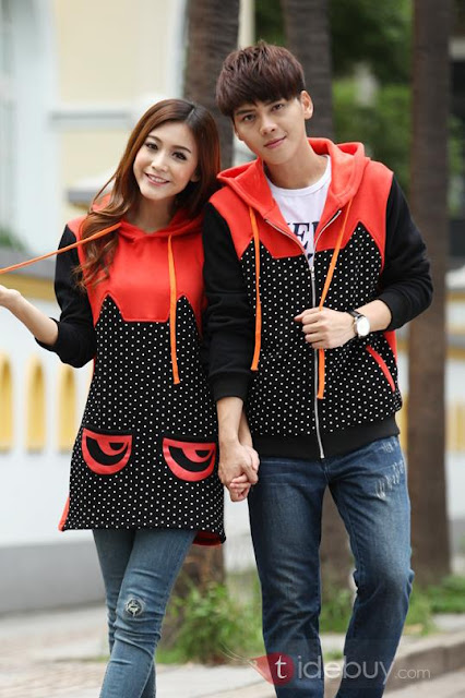 Zip-Front Patchwork Polka Dots Couple Outfits