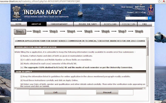 Indian Navy guidelines for filling up online form