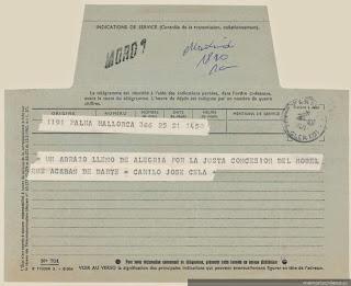 [Telegrama], 1971 oct. 21 Palma de Mallorca, España <a> Pablo Neruda [manuscrito]