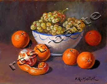 Bodegón con bol de cerámica decorada, uvas y naranjas