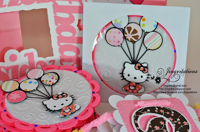 hello kitty banner, goody bags, party favors, door sign, cupcake topper, invitations