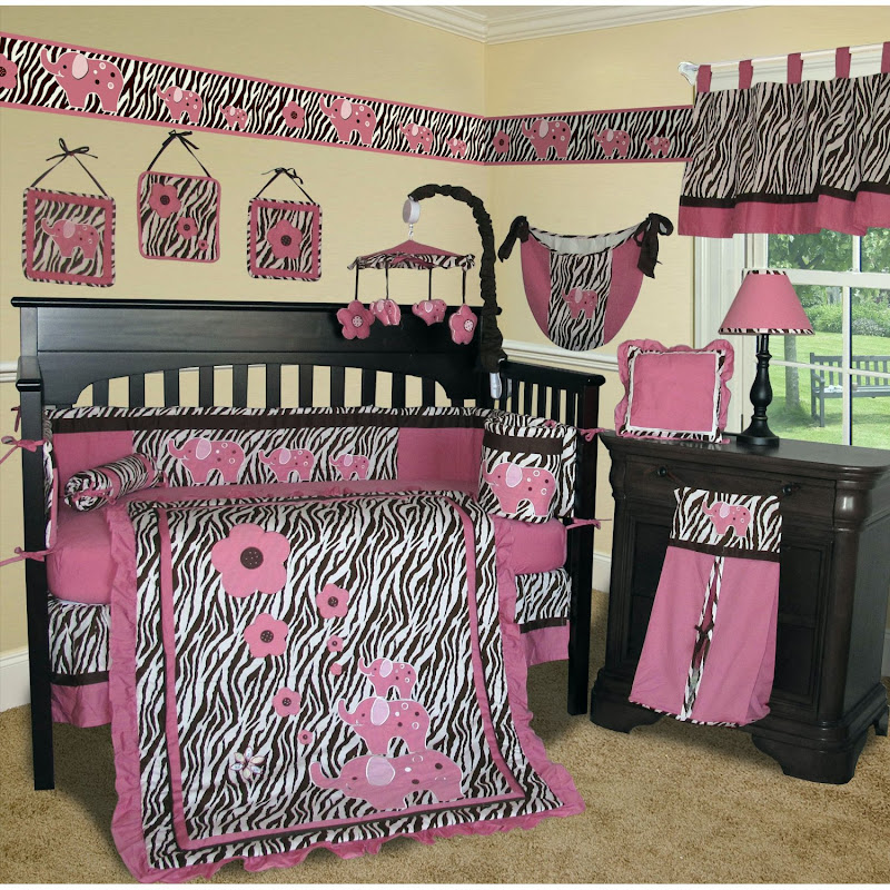 Custom Baby Girl- Brown Pink Zebra Crib Bedding title=