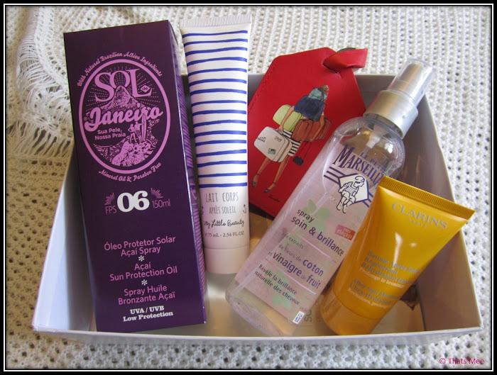 My little box rivieira mai 2013, huile sol Janeiro baume lait après soleil my little box MY LITTLE BEAUTY, spray le petit marseillais vinaigre fruits, après soleil Clarins