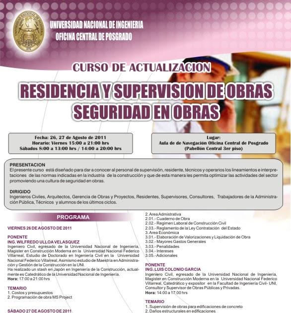 Curso residencia y supervision de obras seguridad en obras for Horario oficina ing mostoles