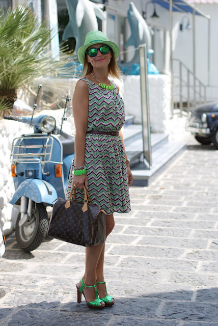 abito righe zig zag, Oakley mirror sunglasses, Louis Vuitton Speedy 30, fashion blogger, Fashion and Cookies