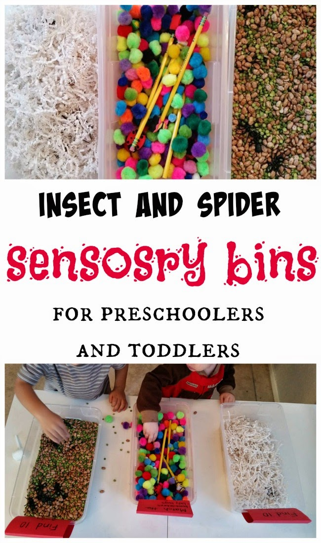 Insect and Spider Sensory Bins for preschoolers and toddlers