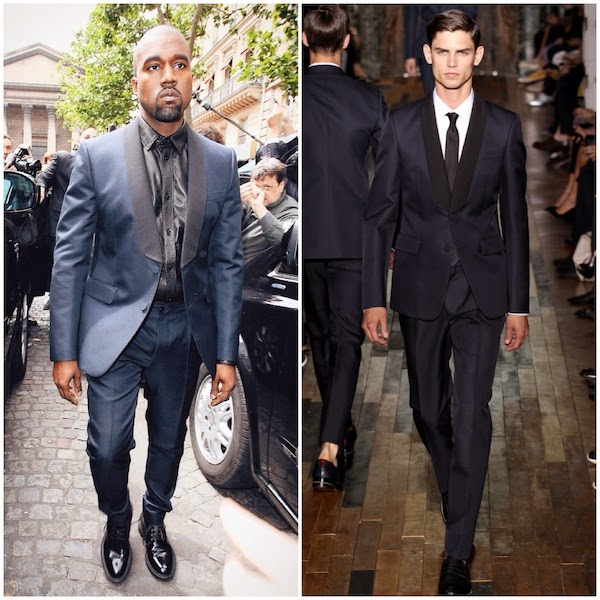 Kanye West in Valentino tuxedo with leather shirt - Paris Street Style