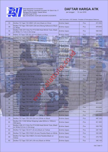 Katalog Harga ATK Peralatan Kantor 2016 Murah Brother P-Touch  www.alattulis.co.id