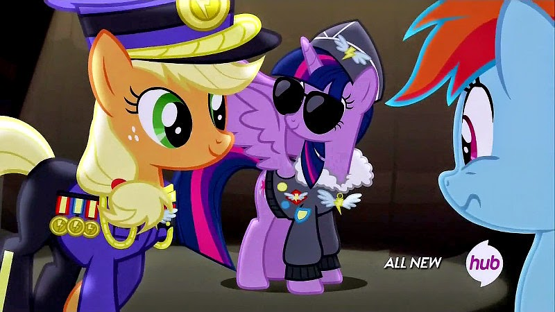 Applejack and Twilight dress up as past Wonderbolts